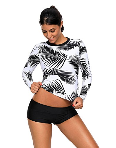 HDE Womens Tropical Leaf Swim Top Long Sleeve Swimsuit Surf Rash Guard Swimwear (Black White, Small) by HDE