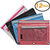 Emraw Double Pocket Zippered Glitter Pencil Pouches with 3-Ring Grommet Holes & Quick View Mesh Pocket - Colors Included: Black, Silver, Blue, Pink (12 Pack)