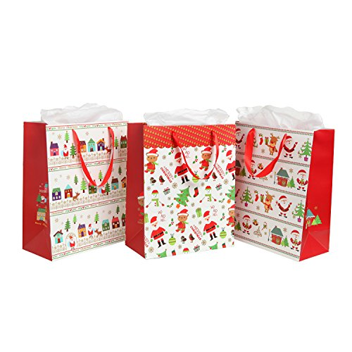 Assorted Festive Christmas Party Gift Bags and Tissues (Santa Claus, Christmas Trees) by MyGift® - Set of 3 Bags