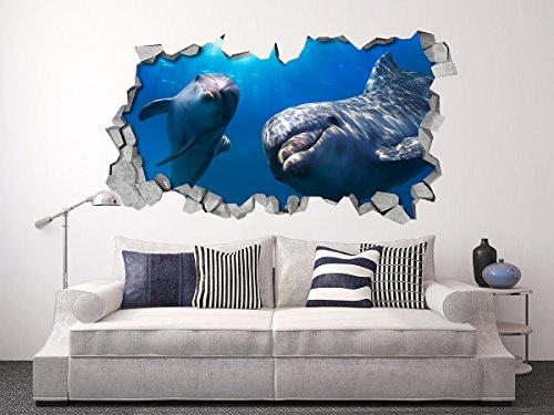 3D Wallpaper Effect (34,25 x 18,90 inches, Dolphins 3D Panels Broken Wall Decor Effect Stickers)