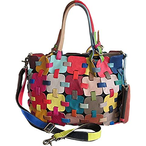AmeriLeather Colby Leather Tote Bag (Rainbow) - Lambskin Leather Tote Bag