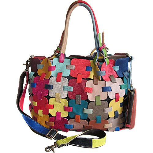 AmeriLeather Colby Leather Tote Bag (Rainbow) ()