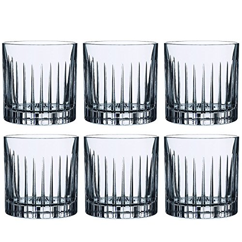 6-Piece Italian Crystal Whiskey Glass Set, 10 oz Crafted Double Old Fashioned Heavy Base Rocks Glasses for Scotch/Bourbon with Thundering Cut Vertical Design