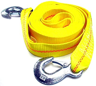 "HFS (R) 2"" X 30' , 4.5 Ton 2 Inch X 30 Ft. Polyester Tow Strap Rope 2 Hooks 10,000lb Towing Recovery"
