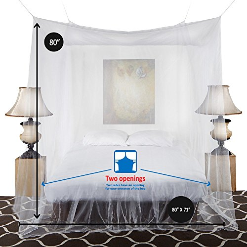 """Mosquito Net Canopy Includes Hanging Kit + Bonus Repellant Bracelet, Extra Large, 98"""" Height Fits Both Cribs King Size Beds, Suitable For Indoor Or Outdoor Use, Natural Non Toxic, By Gaia Nets"""