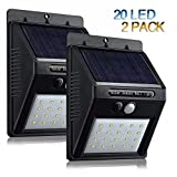 Solar Motion Sensor Outdoor Lights,20 LED Solar Deck Lights Wireless Waterproof Solar Powered Security Wall Lights for Patio, Deck, Yard, Garden (2-Pack) (Black)