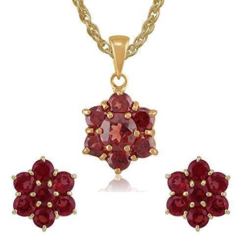 Gemondo en or jaune 9 carats-Grenat-Boucles d'oreilles clous en forme de grappe de fleurs rond 45 cm Collier &