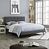 Modway MOD-5979-GRY Tarah Platform Bed with Round Splayed Legs, Queen, Gray