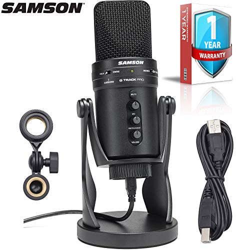 (Samson G-Track Pro Multi-pattern USB Condenser Studio Microphone with Built-In Audio Interface (Black) with 1-Year Extended Warranty)