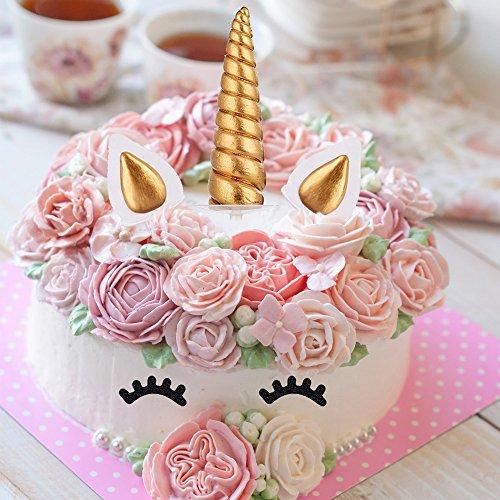 Unicorn Mold, Silicone Unicorn Horn Ears Flower Eyelash and Rainbow Cake Topper Set for Fondant Chocolate Candy Sugarcraft Baking Cupcake Toppers DIY Party Decorating Cake Mold