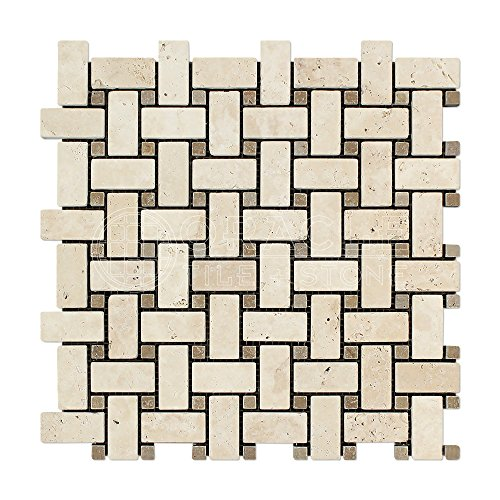 Ivory (Light) Travertine Basketweave Mosaic Tile with Noce Travertine Dots, Tumbled