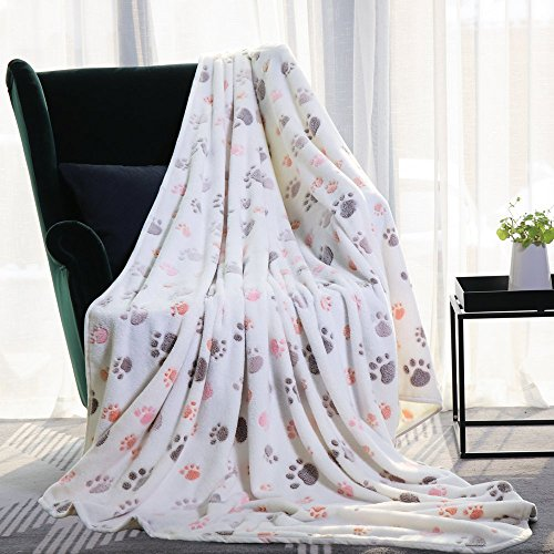 Allisandro Durable Dog Blanket - Pet Premium Fluffy Flannel Fleece Puppy Throw Blanket - Soft and Cute Paw Design, White, 79x63