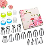 Russian Piping Tips Set - 53 pcs Cake Decorating Tips For cake, Muffins and Ice Cream Decoration Including 15 Unique Design Icing Piping Tips, 4 Couplers, 32 Bags with Gift Box for Mother's Day