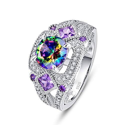 - Veunora Gorgeous 925 Sterling Silver Created Rainbow and White Topaz Cocktail Ring for Women Size 6