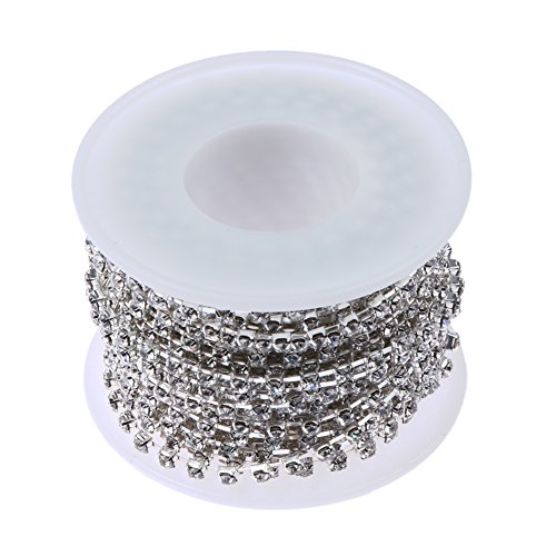 (Whitelotous 10Yards/Roll Sparkle Crystal Rhinestone Close Claw Chain SS6 SS12(2mm 3mm) Clear Trim Sewing Craft (3mm, Silver))