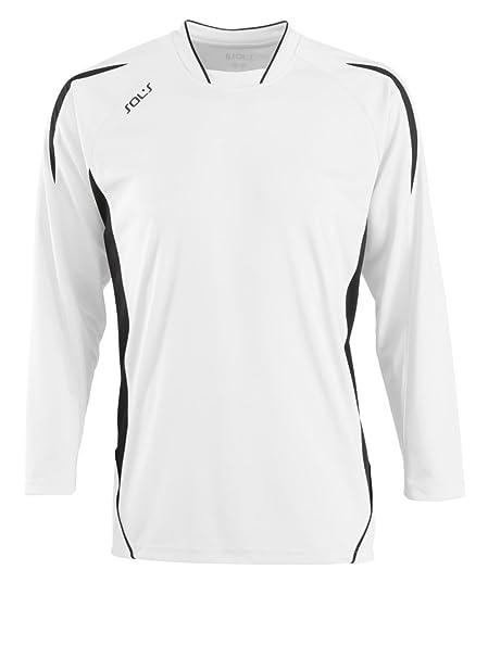 SOLS Camiseta de fútbol de manga larga para hombre Maracana, Hombre, color blanco/negro, tamaño: Amazon.es: Ropa y accesorios