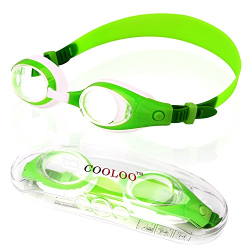 Kids Swim Goggles, COOLOO Swimming Glasses for Children and Early Teens from 3 to 15 Years Old, Anti-Fog, Waterproof, UV Protection (Shark Snorkel compare prices)