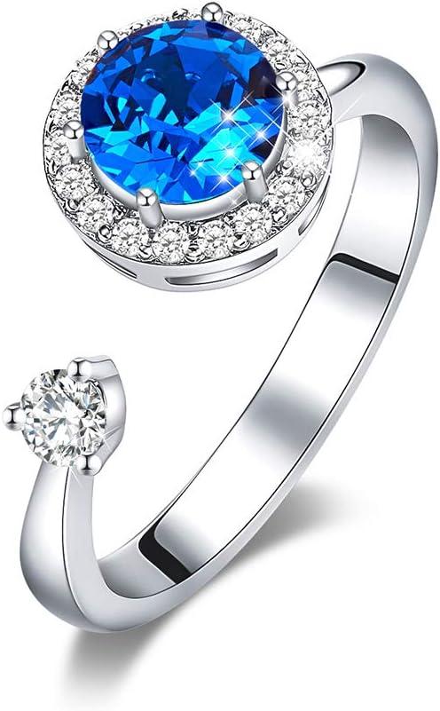 Homeofying Anillo De Dedo Redondo Con Incrustaciones De Diamantes De Imitación Abiertos Joyas Ajustables Regalo De Cumpleaños Para Mujeres Niñas Azul zafiro