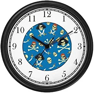 Amazon Com Pirate Skull Cross Bones And Swords Collage Wall Clock By Watchbuddy Timepieces Black Frame Kitchen Dining