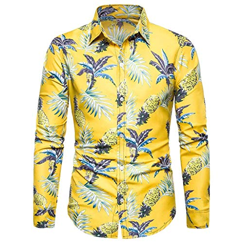 Liner Wall Pro Hood - A Variety of Styles Button Down Long Sleeve Tee Sales NRUTUP Men's Standard-Fit 100% Cotton Tropical Hawaiian Shirt