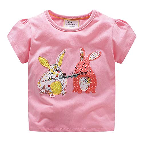 (Hongshilian Kids' Cotton Striped Casual Tee Tops Shortsleeve Cartoon Appliques T-Shirt for Boys or Girls(4T,Rabbit & Pink))
