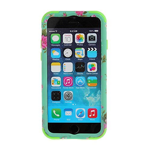 MERSUII Iphone 6 Case, iPhone 6 4.7 Case,Fashion Hot Sale 3 Layer Design Orchid Elegant Rose Flowers Pattern Soft TPU+Hard PC Resistant Hybrid Shock-Absorption Bumper Slim Hard Back Shell Case Cover Protector Fit For Apple iPhone 6 4.7 inch, green