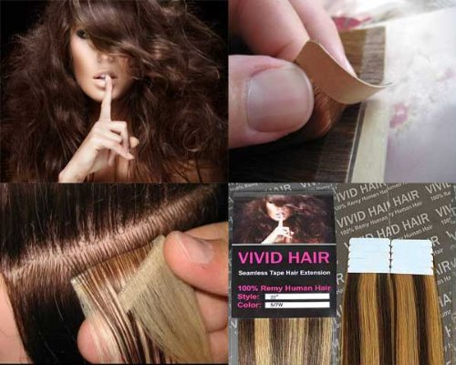 10 Pcs X 18″ inches Remy Seamless Tape In Skin weft Human Hair Extensions Color 5 / 7 W Medium Brown Mix Dark Blonde Review