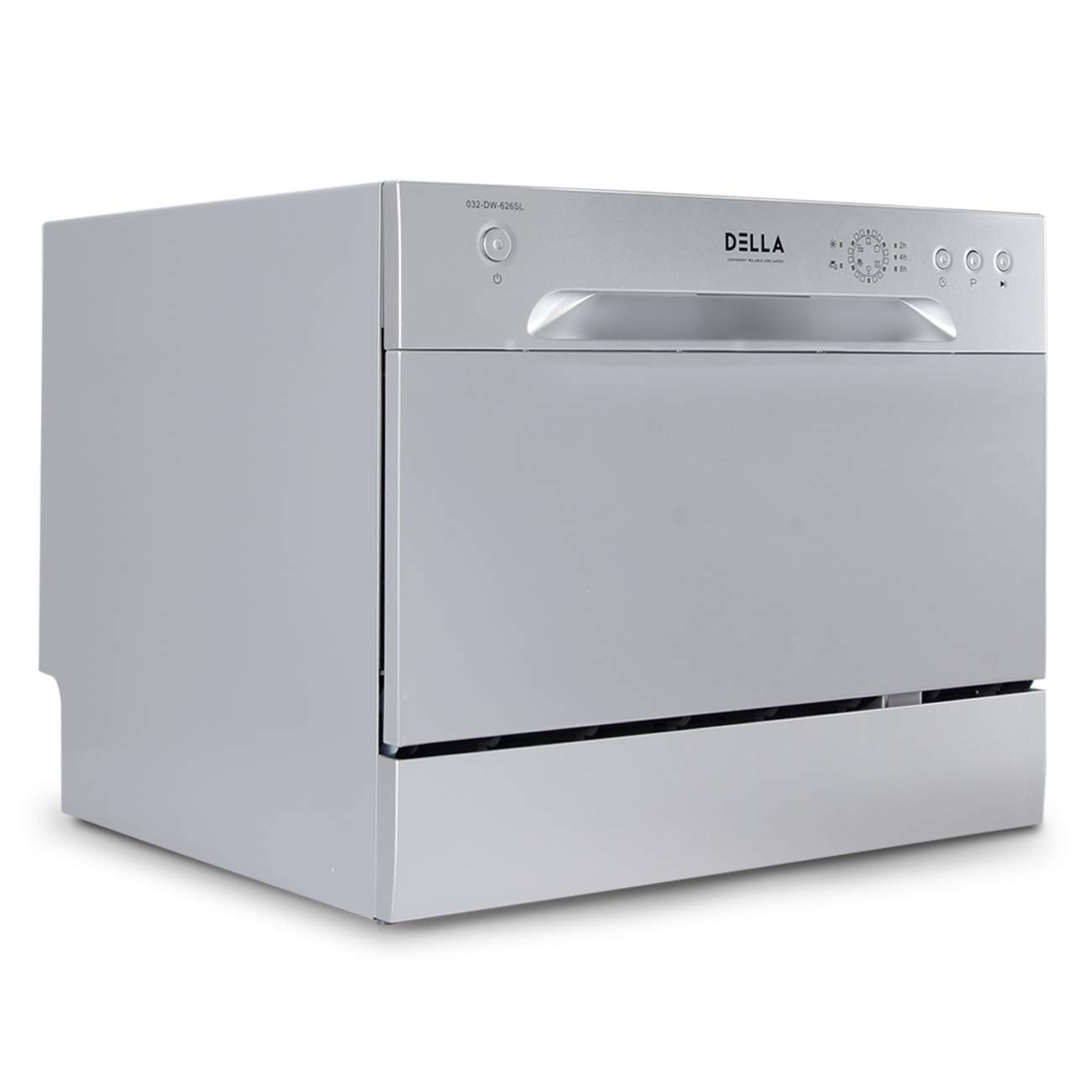 DELLA Compact Dishwasher Countertop Small Kitchen Portable Dishwashers w/ 6 Washer Cycles Setting, Silver