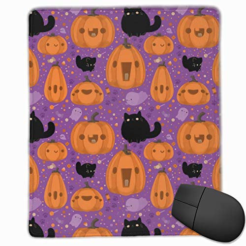 Daisysky Cute Ghost Cat Cartoon Art Office Mouse Pads Cute 10 X 12 X 0.12 Thicken Small Polyester Non-Slip Package Edge ()