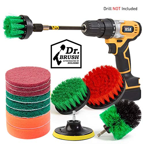 Holikme 14Piece Drill Brush Attachments Set, Green Scrub Pads & Sponge, Power Scrubber Brush with Extend Long Attachment All Purpose Clean for Grout, Tiles, Sinks, Bathtub, Bathroom, Kitchen & Auto