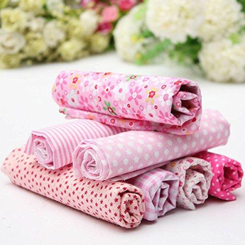 KINGSO 7PCS Cotton Fabric Bundles Quilting Sewing Pattern DIY Craft 19.7x19.7inch Pink