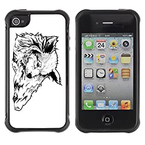 Hybrid Anti-Shock Defend Case for Apple iPhone 4 4S / Cool Wolf Tattoo