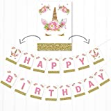 Olivia Samuel Unicorn Happy Birthday Banner - Pink and Gold Glitter Effect Bunting Decoration for Girl's Birthday Celebration.