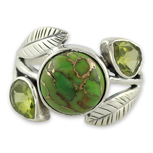 NOVICA Composite Green and Golden Turquoise .925 Sterling Silver Ring, Green Ivy' ()