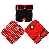 AZUZA Washable Dog Diapers (3 Pack) Reusable Sanitary Wraps Panties for Female and Male Pets Breathable with Inside Pocket - Waist 21''-27'' for Medium Dogs