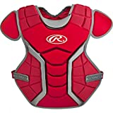 """Rawlings  Junior Age 9 & Under Renegade Chest Protector 13"""", Scarlet/Silver"""