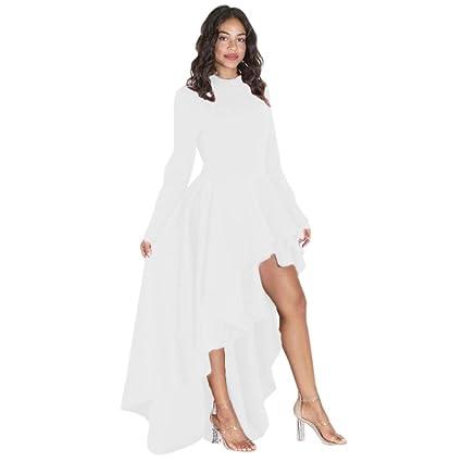 Vestido para mujer, Dorame mujeres vestido de Club mango larga alta baja Péplum vestido bodycon