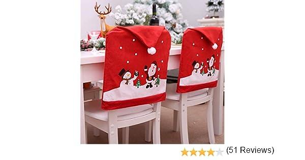 6 pcs Cubierta de la Silla de Navidad Decoraci/ón de Navidad + 6 pcs Christmas Socks Pockets HONGCI Paquete 12 de Navidad decoraci/ón de la Mesa Calcetines de Navidad Cubiertos Bolsillos Soporte