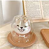 Shiba Inu Cup Double Wall Glass Creative Funny Animals Dog Tea Milk Coffee Juice Cups 7.4 oz