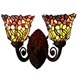 Bieye L10094 Orchid Tiffany Style Stained Glass Wall Sconces with 7-inch Shade (Pink Orchid Double Uplight)