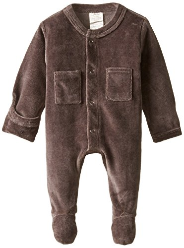 Gloved Sleeve Overall - L'ovedbaby Unisex-Baby Newborn Organic Cotton Velour Footed Overall, Gray, 0-3 Months