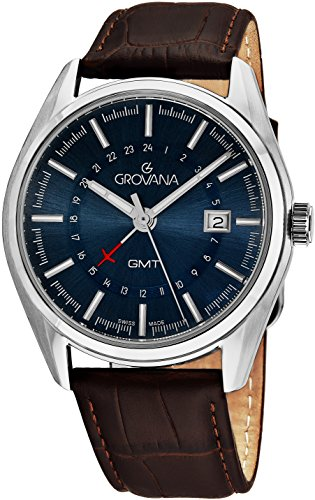 Grovana GMT Mens Stainless Steel 2nd Time Zone Watch - Blue Face Brown Leather Band Analog Swiss Quartz Classic Dress Watch For Men 1547.1535