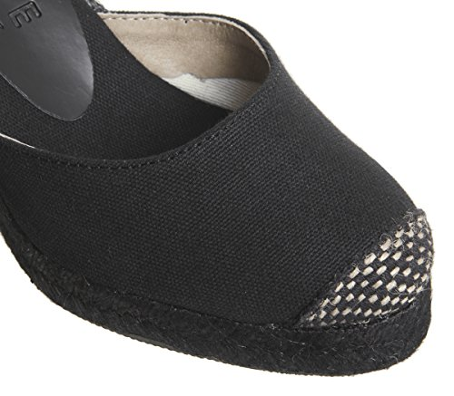 Office Marmalade Espadrille Wedges Black Canvas Drench 4V4dwgI