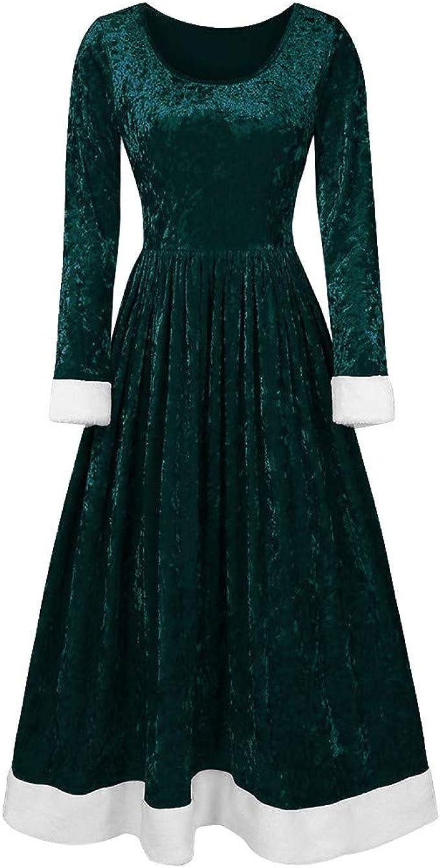 URSING Damen Lange Langarm Weihnachtskleid Abendkleid Rundhals