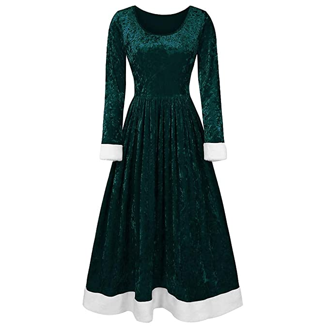Victorian Clothing, Costumes & 1800s Fashion Lazapa Vintage Dresses for Women 2019 Fashion Large Size Party Eveing Dress Long Sleeve Round Neck Christmas Velvet Skirt Dress Fall Winter Soft Cozy Tunic Dress Christmas Costume $13.66 AT vintagedancer.com