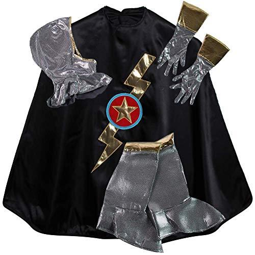 Black Shazam Knight Cape, Hood & Gloves Dress Up Accessory Costume Set, Size 4/6 ()