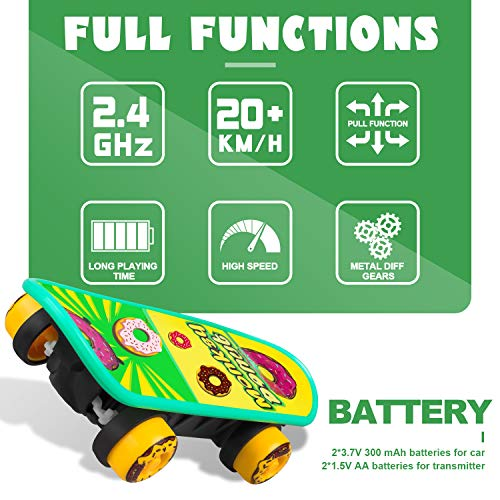 ZENFOLT Remote Control Car, Novelty Design Remote Control Skateboard Toy with 4-Sided Pyramid Skateb - http://coolthings.us
