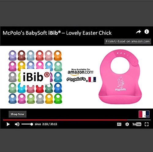 McPolo's Lovely EasterChick iBib 100% Portable Silicone Baby Bib, Waterproof Food Crumb Catcher Pocket Ultra Soft Easily Wipes Clean Stains Off – Best for 2 MO to 6 YO Babies Toddlers PreSchoolers