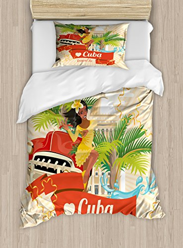 (Lunarable Havana Twin Size Duvet Cover Set, Cuban Culture and Attractions Concept Smiling Local Lady on Classic Car Among Palms, Decorative 2 Piece Bedding Set with 1 Pillow Sham, Multicolor)