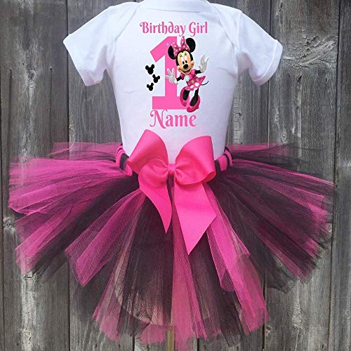 Minnie Mouse Personalized Birthday Outfit Tutu Set Pink and Black -